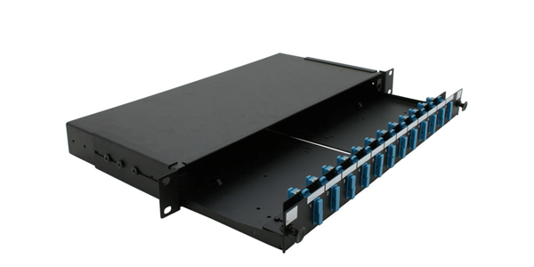 1U, Sliding Fibre patch panel, with front Faceplate 12 port SC Duplex-img-1